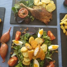 Cuisse de canard et salade cocotte